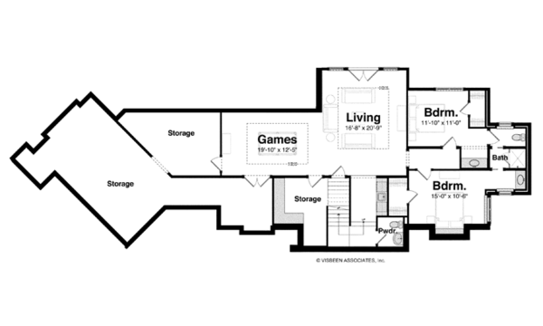 Craftsman Floor Plan - Lower Floor Plan Plan #928-253