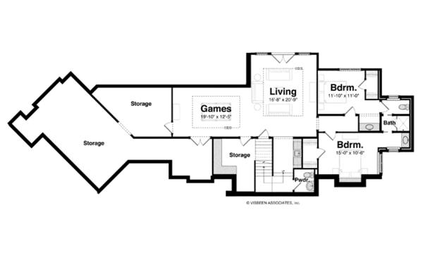 Architectural House Design - Craftsman Floor Plan - Lower Floor Plan #928-253