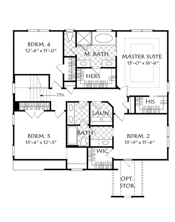 Traditional Floor Plan - Upper Floor Plan Plan #927-962
