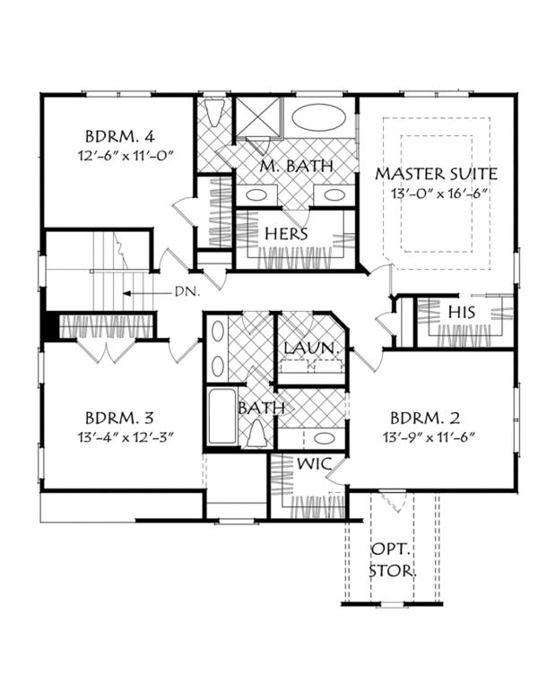 Traditional Floor Plan - Upper Floor Plan Plan #927-962