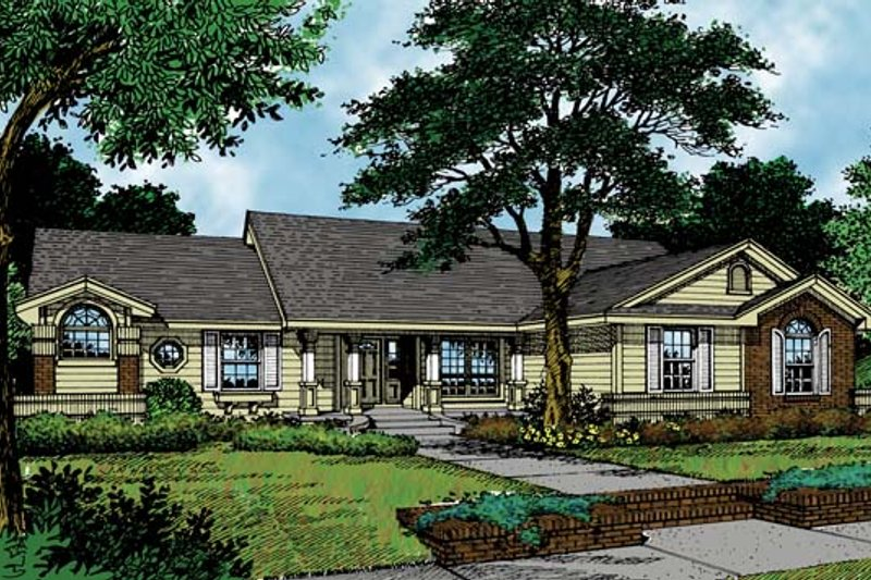 Ranch Exterior - Front Elevation Plan #417-691