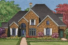 European Exterior - Front Elevation Plan #1021-10
