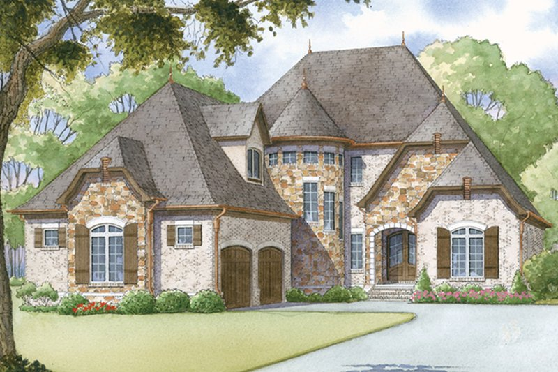 European Exterior - Front Elevation Plan #17-3372