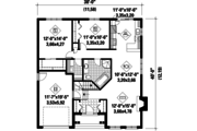 European Style House Plan - 2 Beds 1 Baths 1200 Sq/Ft Plan #25-4302 Floor Plan - Main Floor Plan