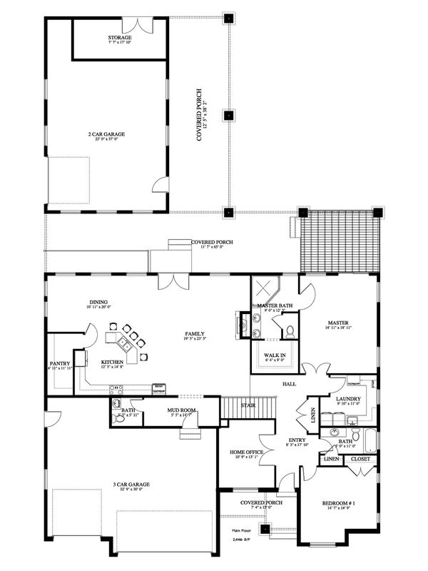 Ranch Floor Plan - Main Floor Plan Plan #1060-43