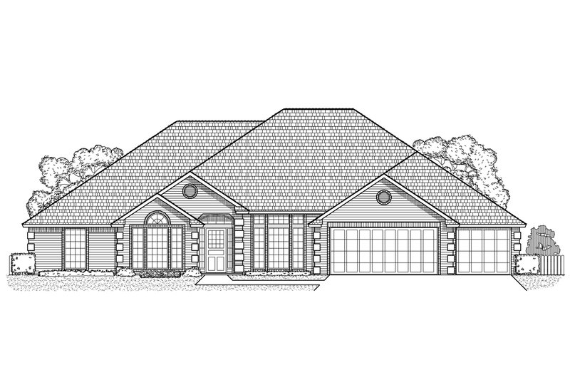 Traditional Style House Plan - 4 Beds 3 Baths 2679 Sq/Ft Plan #65-191 Exterior - Front Elevation