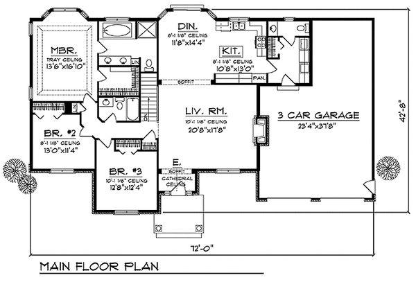 European Floor Plan - Main Floor Plan Plan #70-644