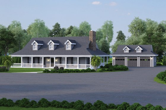 Southern Exterior - Front Elevation Plan #57-329