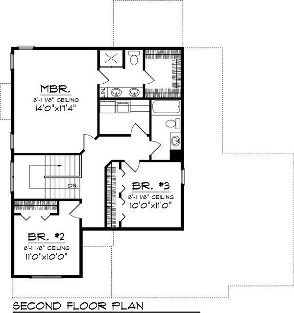 Craftsman Floor Plan - Upper Floor Plan Plan #70-1049