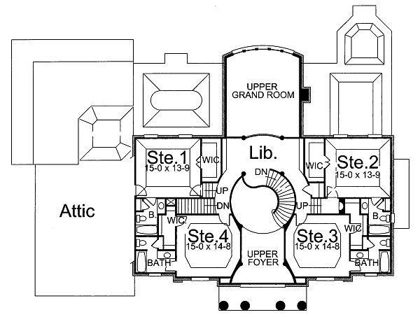 Classical Floor Plan - Upper Floor Plan Plan #119-246
