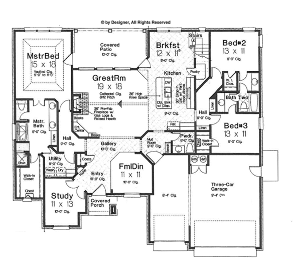 Architectural House Design - European Floor Plan - Main Floor Plan #310-1263