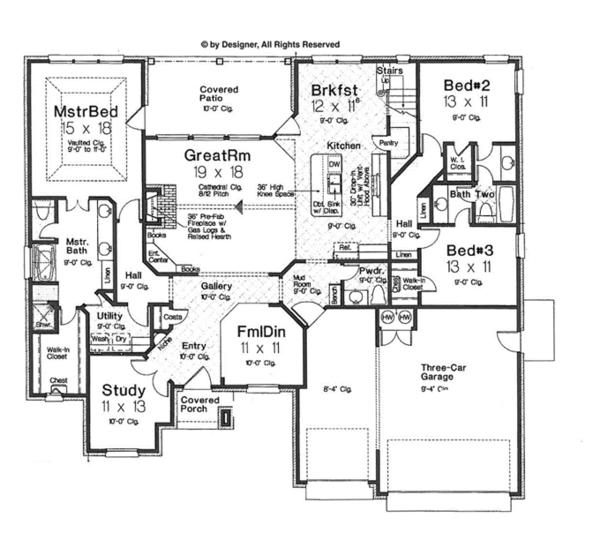 Architectural House Design - European Floor Plan - Main Floor Plan #310-1263