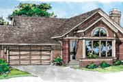 Traditional Style House Plan - 3 Beds 2 Baths 1368 Sq/Ft Plan #320-127 Exterior - Front Elevation