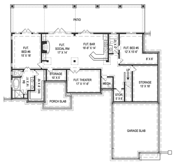 Craftsman Floor Plan - Lower Floor Plan Plan #119-425