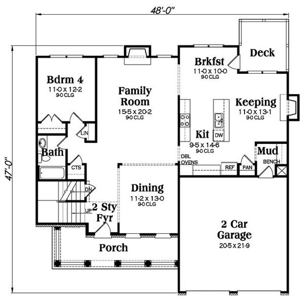 Farmhouse Floor Plan - Main Floor Plan Plan #419-257