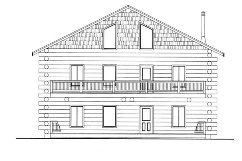 Log Exterior - Front Elevation Plan #117-822