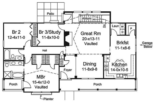 Country Floor Plan - Main Floor Plan Plan #57-637