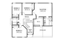 Traditional Floor Plan - Upper Floor Plan Plan #1053-40