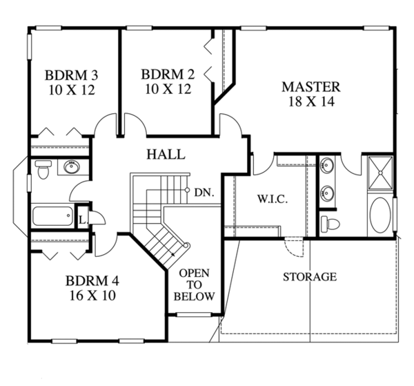 Traditional Floor Plan - Upper Floor Plan Plan #1053-40