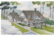 Craftsman Style House Plan - 5 Beds 4 Baths 4175 Sq/Ft Plan #928-21 Exterior - Rear Elevation