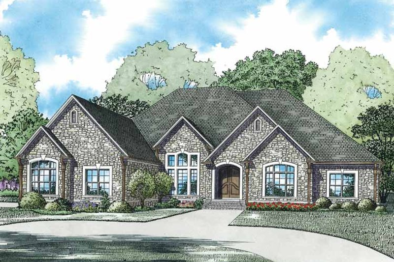 European Exterior - Front Elevation Plan #17-3351