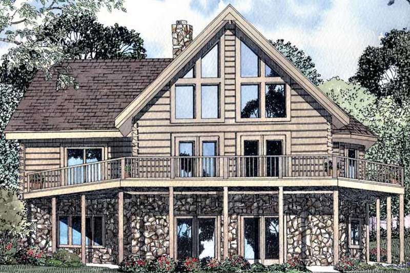 Log Exterior - Front Elevation Plan #17-3103 - Houseplans.com