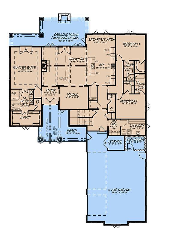 Craftsman Floor Plan - Main Floor Plan Plan #923-171