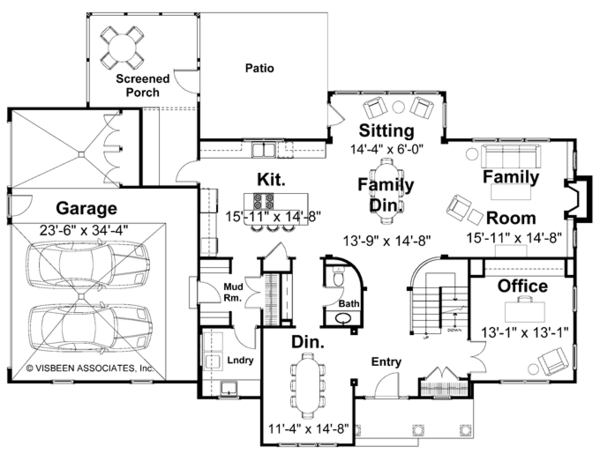 Traditional Floor Plan - Main Floor Plan Plan #928-46