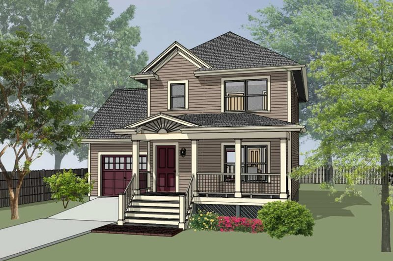 Cottage Style House Plan - 3 Beds 1.5 Baths 1087 Sq/Ft Plan #79-123 Exterior - Front Elevation