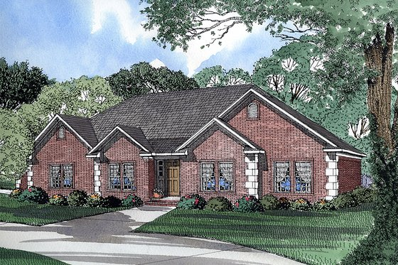 European Exterior - Front Elevation Plan #17-111