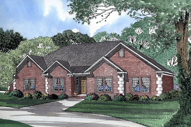 European Style House Plan - 3 Beds 2 Baths 2092 Sq/Ft Plan #17-111 Exterior - Front Elevation