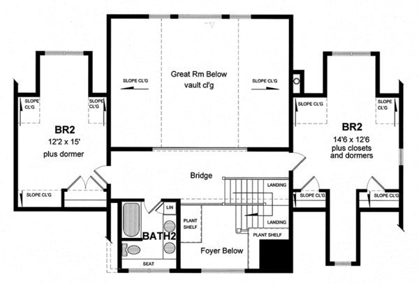 Colonial Floor Plan - Upper Floor Plan Plan #316-287