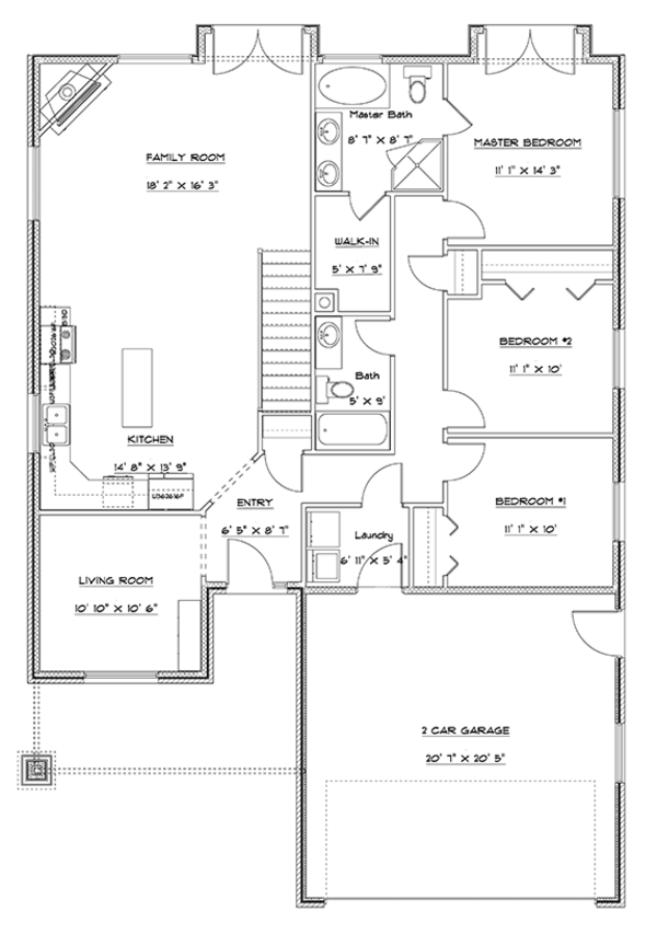 Ranch Floor Plan - Main Floor Plan Plan #1060-9