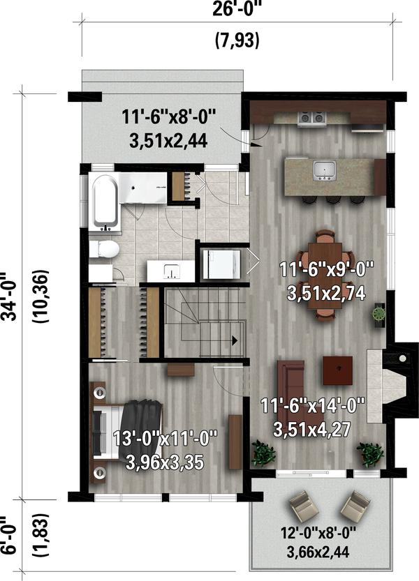 Contemporary Floor Plan - Main Floor Plan #25-4932