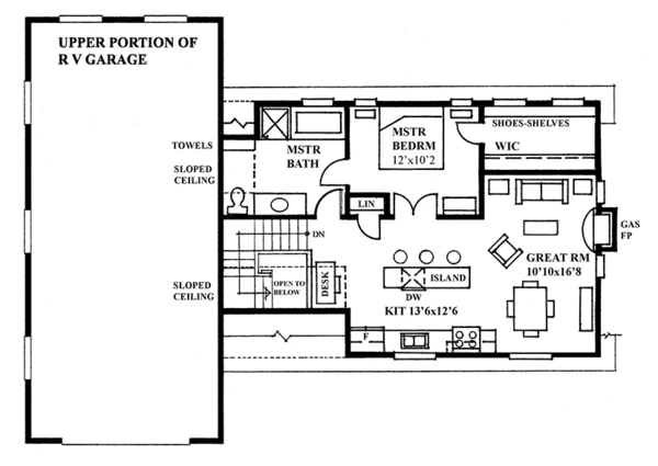Traditional Floor Plan - Upper Floor Plan Plan #118-168