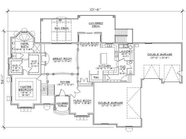 European Floor Plan - Main Floor Plan Plan #5-397