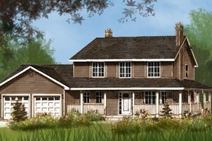 Architectural House Design - Country Exterior - Front Elevation Plan #427-2