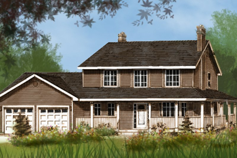 Country Style House Plan - 3 Beds 2.5 Baths 1865 Sq/Ft Plan #427-2 Exterior - Front Elevation