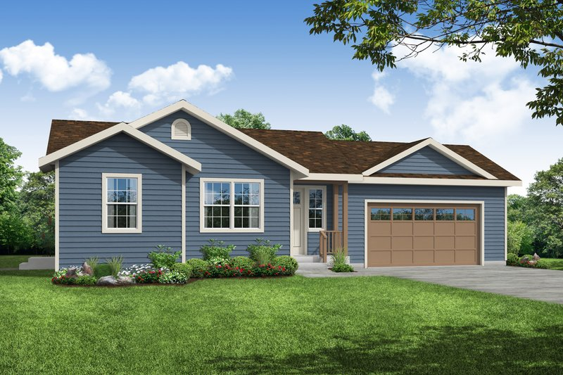 Country Style House Plan - 1 Beds 1 Baths 900 Sq/Ft Plan #124-1170 Exterior - Front Elevation