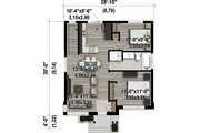 Contemporary Style House Plan - 2 Beds 1 Baths 821 Sq/Ft Plan #25-4407 Floor Plan - Main Floor Plan