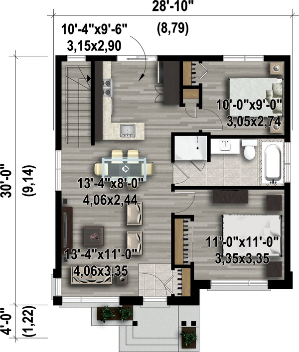 Contemporary Floor Plan - Main Floor Plan Plan #25-4407