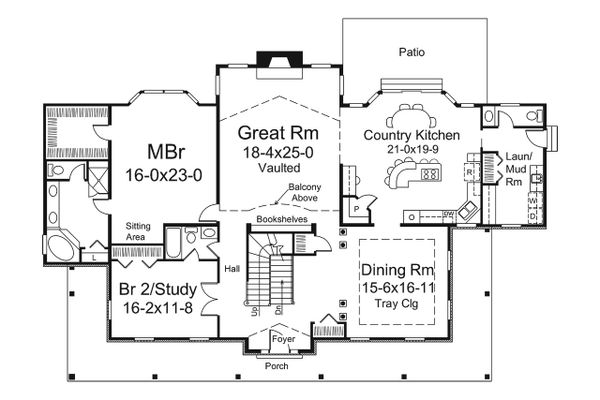 Country Floor Plan - Main Floor Plan Plan #57-644