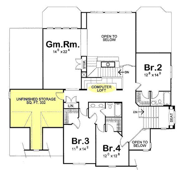 European Floor Plan - Upper Floor Plan Plan #20-1393