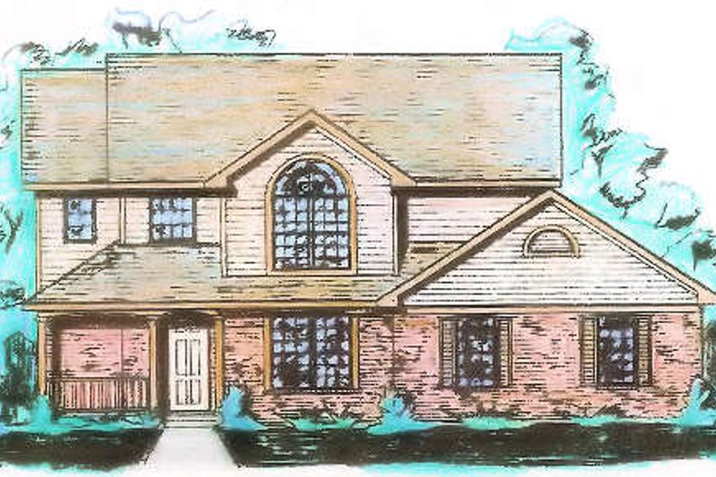 Traditional Style House Plan - 3 Beds 2.5 Baths 1995 Sq/Ft Plan #421-113 Exterior - Front Elevation