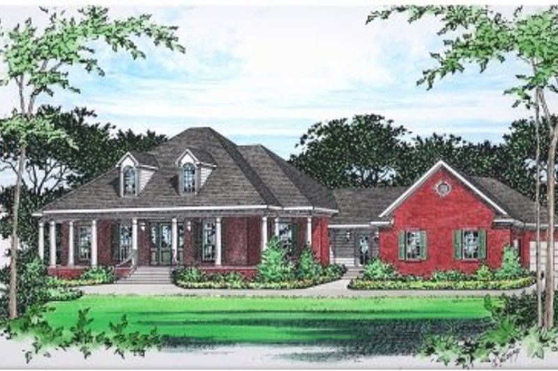 Southern Style House Plan - 3 Beds 2.5 Baths 2494 Sq/Ft Plan #15-250 Exterior - Front Elevation