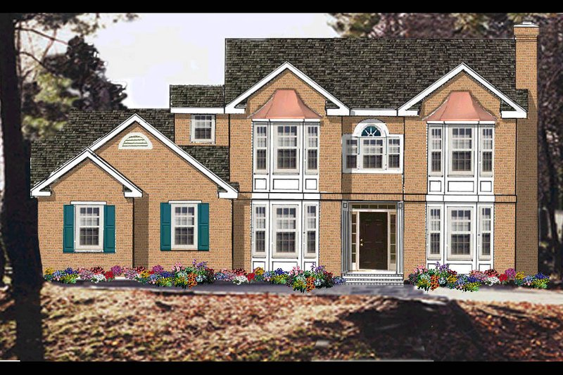 Colonial Exterior - Front Elevation Plan #3-230