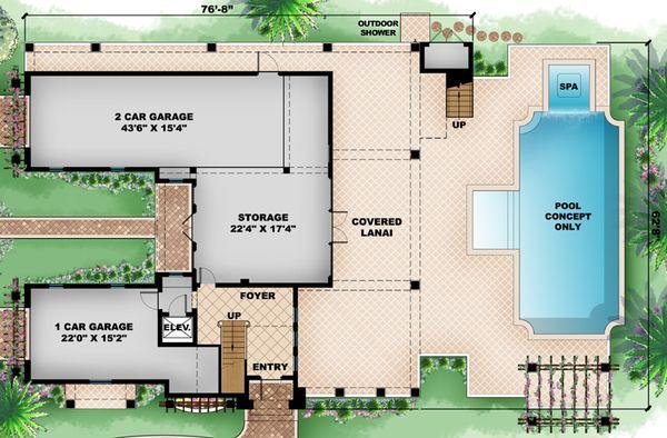 Mediterranean Floor Plan - Lower Floor Plan Plan #27-450