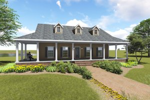 Country Exterior - Front Elevation Plan #44-196