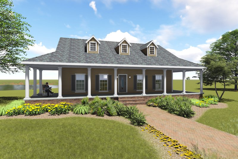 Dream House Plan - Country Exterior - Front Elevation Plan #44-196