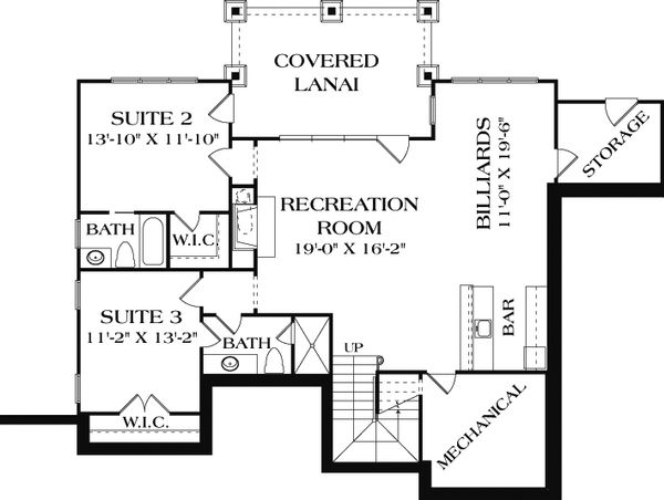 Craftsman style house plan, lower level floor plan